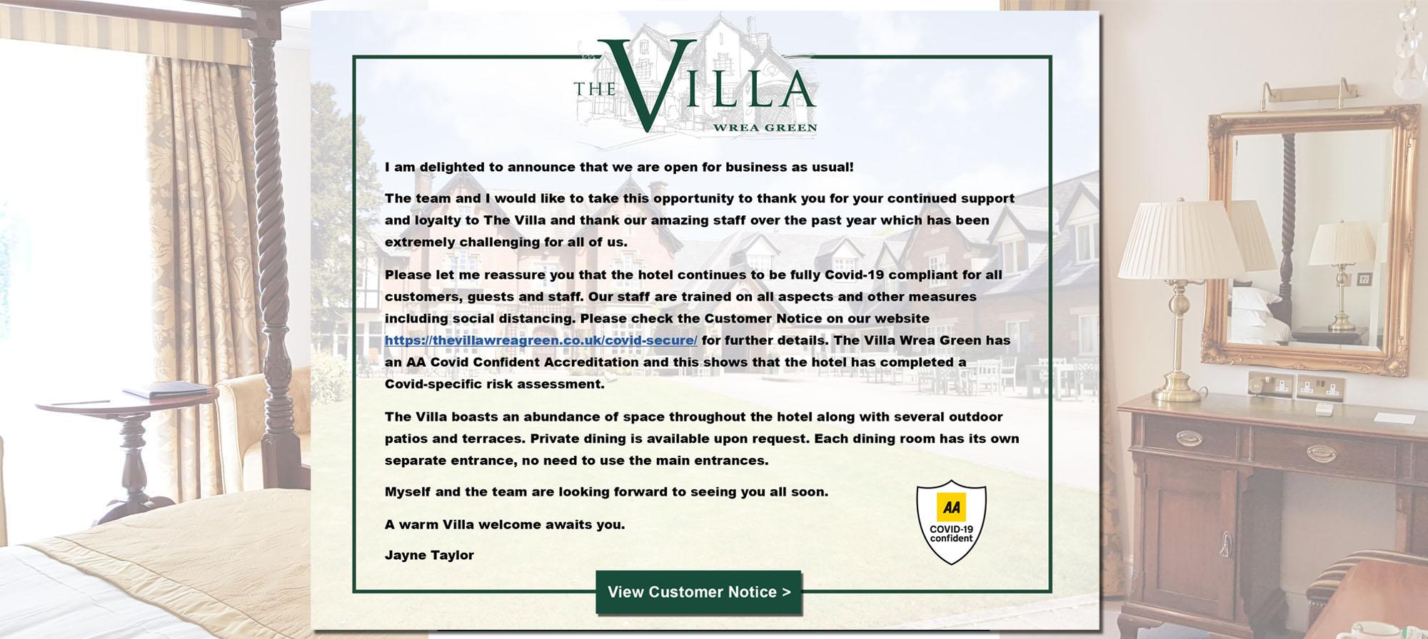 The Villa Wrea Green is Open