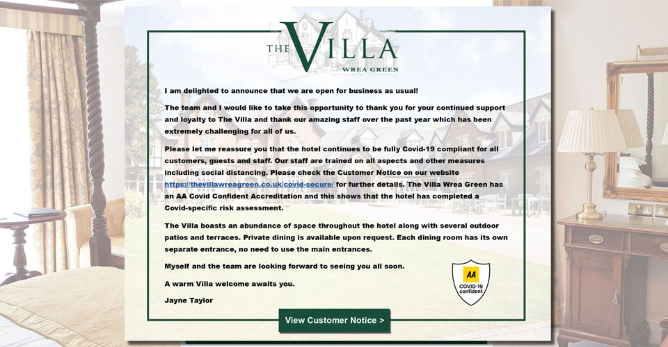The Villa Wrea Green is open for business